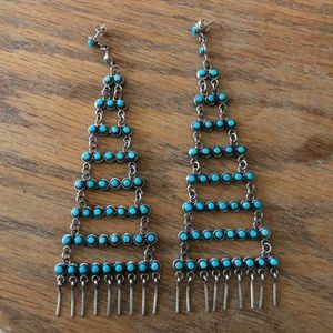 Vintage Zuni Haloo Turquoise and Silver Earrings